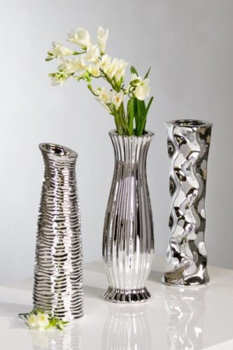 achat d coration vase diverso 3 pi ces 33 cm argent. Black Bedroom Furniture Sets. Home Design Ideas