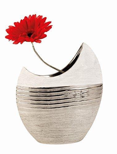 Moderne-Vase-dcoratif-Vase-en-cramique-BlancArgent-Hauteur-23cm-0