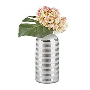 Relaxdays-Vase-bouteille-dco-verre-forme-de-bouteille-HxlxP-34-x-135-x-135-cm-gris-rayures-design-vase-table-argent-0