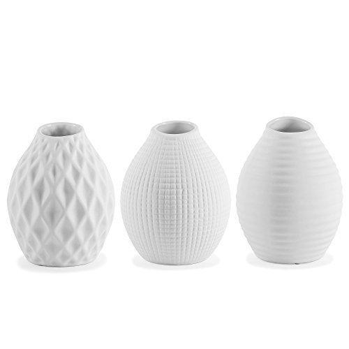 Trio-de-Vases-Contemporains-en-Porcelaine-Blanche-0