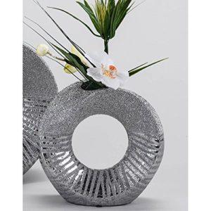 Dco-extravagante-Vase-Fleurs-en-cramique-argent-18-cm-0