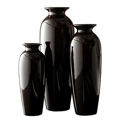 Hosleys-Elegant-Expressions-Set-of-3-Black-Ceramic-Vases-in-Gift-Box-Box-of-1-set-by-Hosley-0