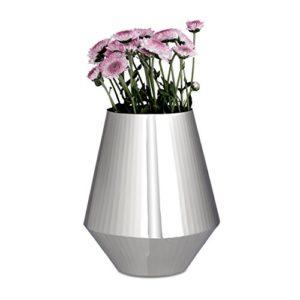 Relaxdays-Vase-de-dcoration-argent-pour-vos-fleurs-en-mtal-brillant-design-moderne-grande-ouverture-HxlxP-23-x-19-x-19-cm-argent-0
