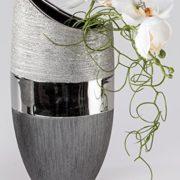 Vase-dcoratif-moderne-Vase--fleurs-en-cramique-Luxor-argent-Hauteur-20-cm-0