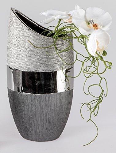 Vase-dcoratif-moderne-Vase–fleurs-en-cramique-Luxor-argent-Hauteur-20-cm-0