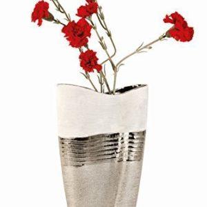 Grand-vase-moderne-dco-fleurs-cramique-blancheargent-hauteur-35-cm-0