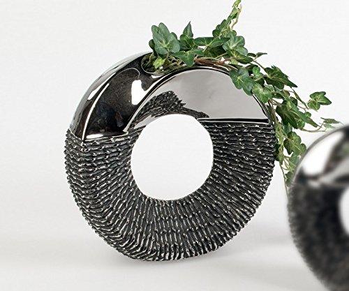 Vase-dcoratif-rond-Luxor-D-env-23-cm-Argent-Gris-Cramique-Formano-0