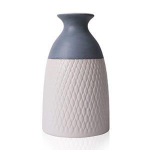 Hannahs-cottage-Blanc-Cramique-Dco-Vase-Petite-Fleur-Vase-Moderne-Table-Vase-Fleurs-Plantes-Vase-Vase-en-Cramique-Simple-Garden-House-Dcoration-Hauteur-20cm-12cm-Gris-et-Blanc-0