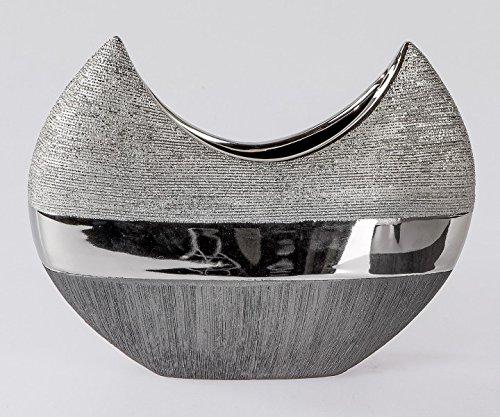 Vase-dcoratif-Luxor-B-26-cm-h-20-cm-Argent-Gris-ovale-Cramique-Formano-0