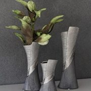 GILDE-Moderne-Vase-Vase-en-cramique-Vase-de-table-Vase-dco-vase-gris-argent-avec-Relief-13x38-cm-0