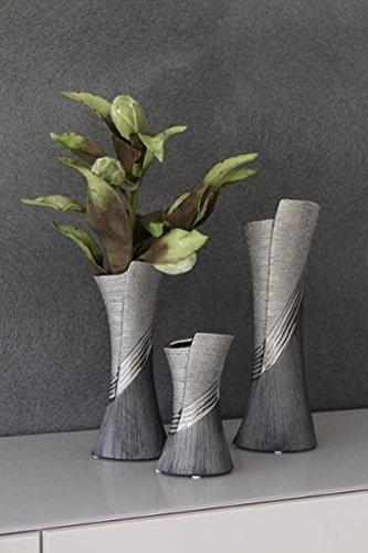 GILDE-Moderne-Vase-Vase-en-cramique-Vase-de-table-Vase-dco-vase-gris-argent-avec-Relief-13×38-cm-0