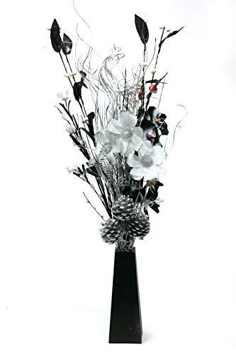 Bouquet-dans-un-vase-en-bois-noir-avec-20-lumires-LED-design-unique-Noir-Argent-0