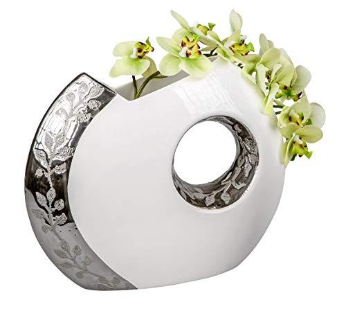 Vase-Moderne-en-cramique-Blancargent-Hauteur-26-cm-0
