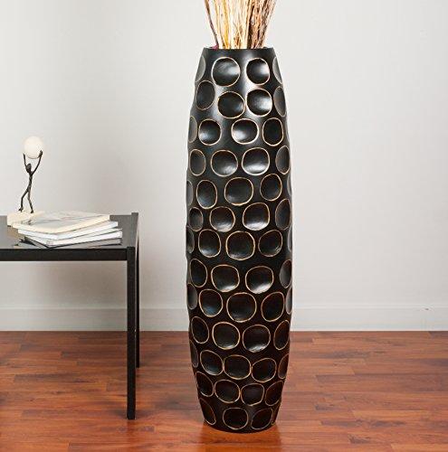 Leewadee-Grand-Vase-Dcoratif-90-cm-Bois-du-manguier-Noir-0