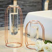 PuTwo-Vase--Fleur-Lot-de-2-Vase-en-Verre-Transparent-Cylindrique-Vase-Design-Tube-avec-Support-Mtallique-Idal-pour-Fleurs-Plantes-Terrariums-Dcoration-de-Mariage-Or-Rose-0-0