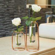 PuTwo-Vase--Fleur-Lot-de-2-Vase-en-Verre-Transparent-Cylindrique-Vase-Design-Tube-avec-Support-Mtallique-Idal-pour-Fleurs-Plantes-Terrariums-Dcoration-de-Mariage-Or-Rose-0
