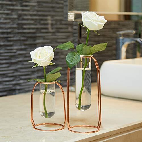 PuTwo-Vase–Fleur-Lot-de-2-Vase-en-Verre-Transparent-Cylindrique-Vase-Design-Tube-avec-Support-Mtallique-Idal-pour-Fleurs-Plantes-Terrariums-Dcoration-de-Mariage-Or-Rose-0