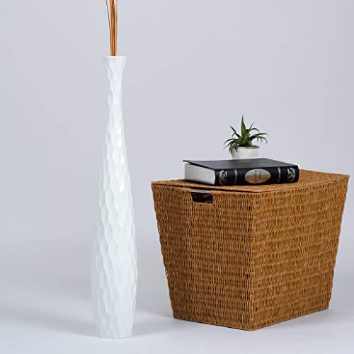Leewadee-Grand-Vase-Dcoratif-90-cm-Bois-du-manguier-Blanc-0