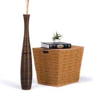 Leewadee-Vase-dcoratif-en-terre-et-bois-75cm-marron-0