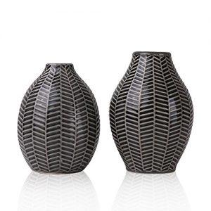 Vases--Fleurs-en-Cramique-Ensemble-de-2-Gris-coratif-Moderne-Fait-Main-pour-Salon-Cuisine-Table-Maison-Bureau-Mariage-Centre-de-Table-ou-Cadeau-15cm-14cm-0