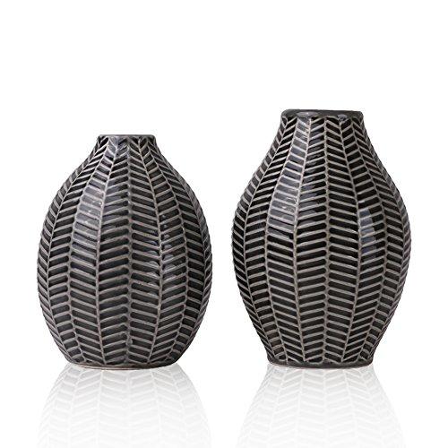 Vases–Fleurs-en-Cramique-Ensemble-de-2-Gris-coratif-Moderne-Fait-Main-pour-Salon-Cuisine-Table-Maison-Bureau-Mariage-Centre-de-Table-ou-Cadeau-15cm-14cm-0
