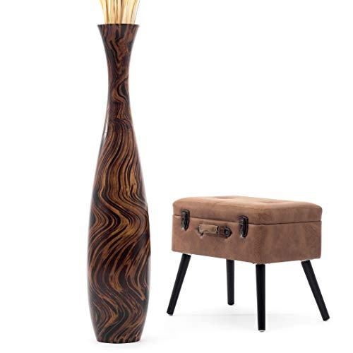 Leewadee-Grand-Vase-A-Poser-Au-Sol-pour-Branches-Dcoratives-Design-Vase-Haut-112-cm-Bois-de-Mangue-Marron-0