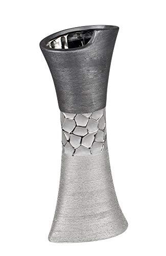 Lifestyle-More-Dco-Moderne-Vase-Vase–Fleurs-Table-Vase-Vase-en-cramique-Argent-Brillant-et-Mat-13×30-cm-0